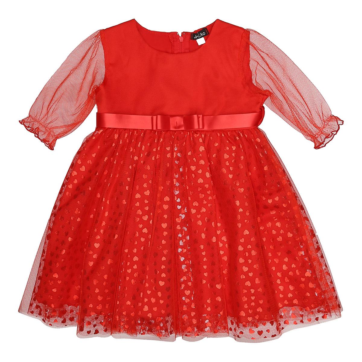 3cfb32e631d0 Art. 14021 baby jule kjole med blanke hjerte og tyl. Rød